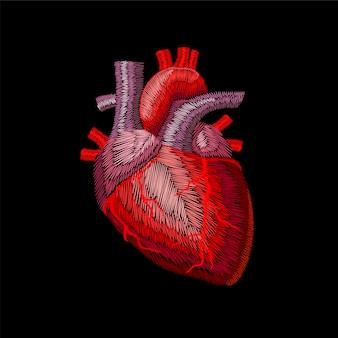 Embroidery crewel human anatomic heart medicine organ.
