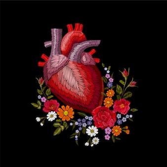 Embroidery crewel human anatomical heart medicine organ flower