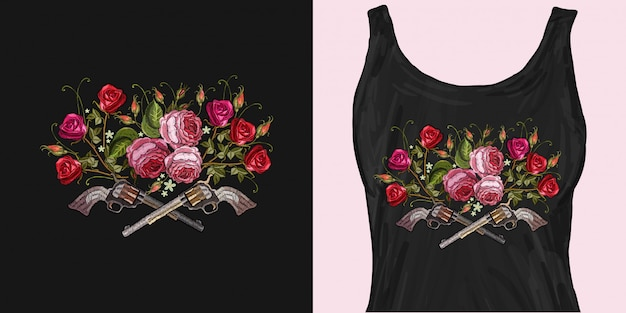 Embroidery crossed guns and roses Premium Vector