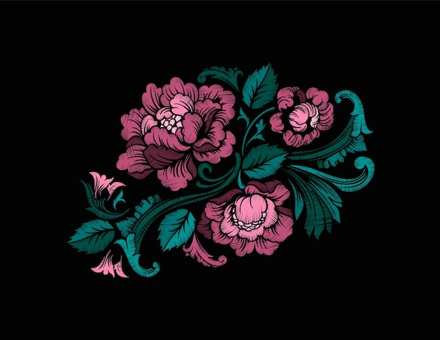 Embroidery design in baroque style. vector