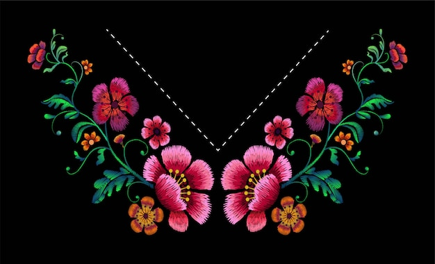 ネックラインの刺繍デザイン。ファッションブラウスとtシャツのための花のデザイン。