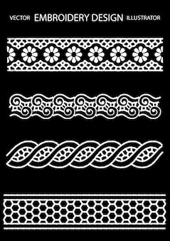 Embroidery design lace Premium Vector
