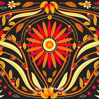 Вышивка цветочный фон плоский дизайн