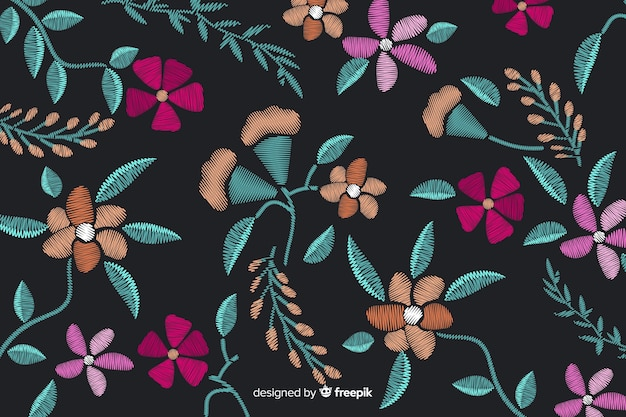 Embroidery floral background
