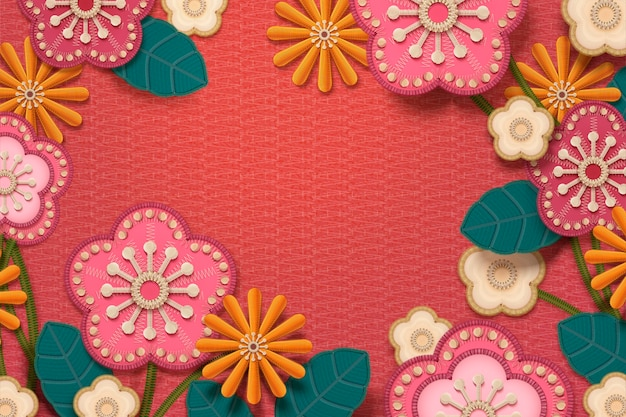 Embroidery floral frame with copy space on watermelon red background