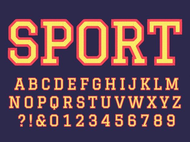 자수 글꼴. 바느질 알파벳 문자, 대학 축구 팀 자수 패치 문자 및 자수 문자 기호 설정