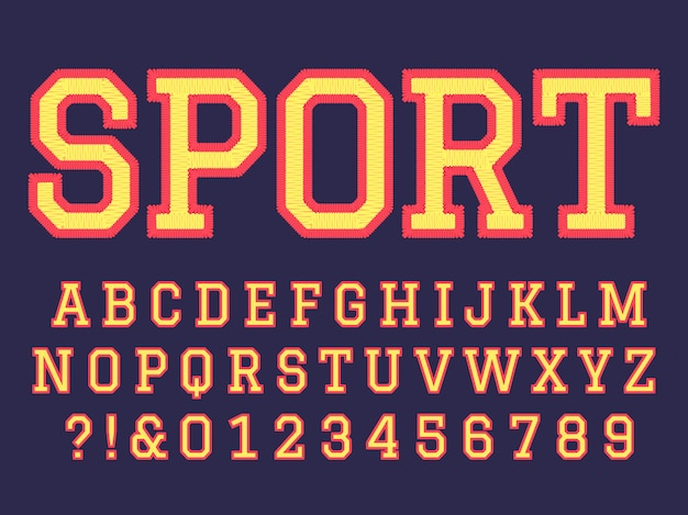 Embroidery font. sewing alphabet letters, college football team embroidered patch lettering and embroidery letter  symbols set