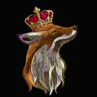 王冠と羽の刺繍キツネ