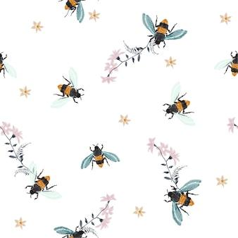 Embroidery honey bee