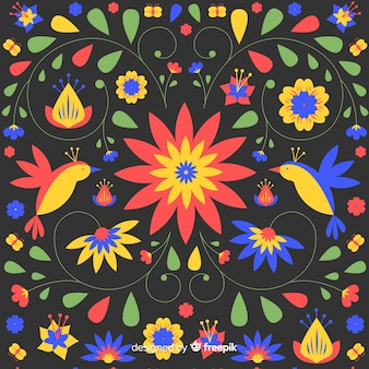 Embroidery mexican floral background