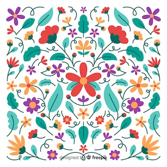 Embroidery mexican floral decorative background