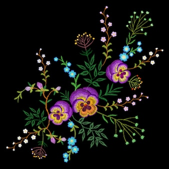 Embroidery pancies floral pattern small branches wild herb