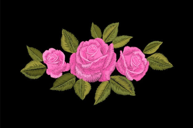 Embroidery pink rose. fashion patch decoration sticker. flower embroidered ornament arrangement. traditional ethnic fabric textile print illustration