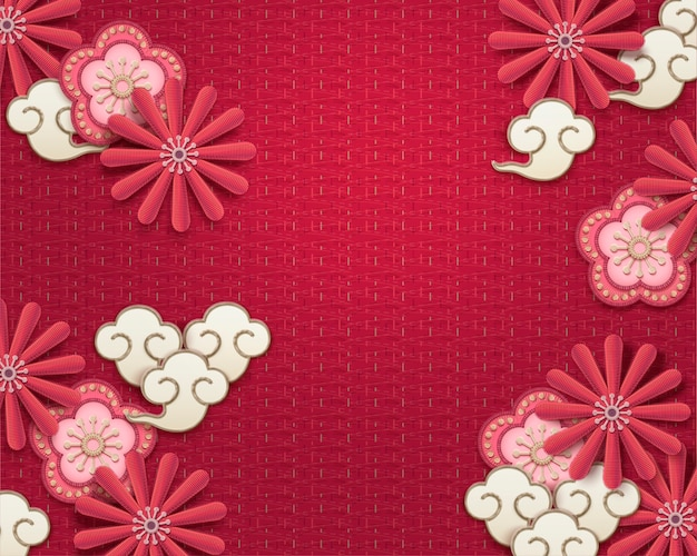 Embroidery plum flower and chrysanthemum background on watermelon red Premium Vector