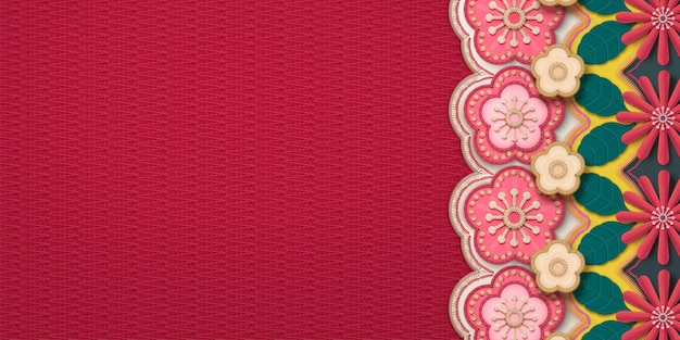 Embroidery plum flower and chrysanthemum frame banner