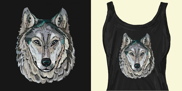 Embroidery. portrait of gray wolf