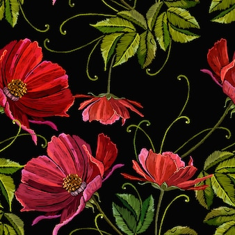 Embroidery red peonies seamless pattern