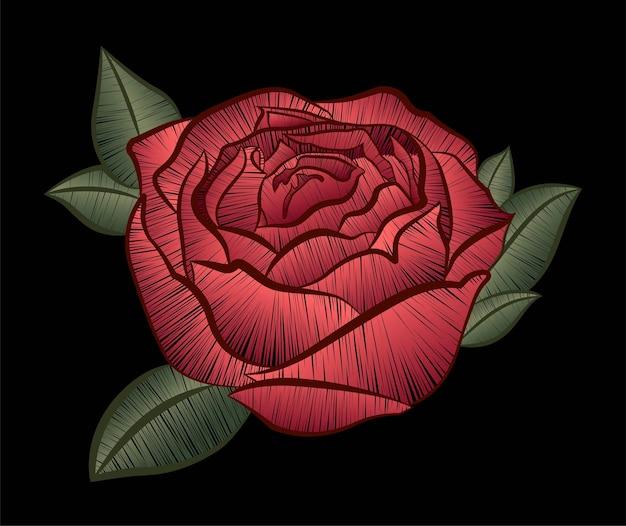 黒の背景に刺繡の赤いバラ。ベクトルイラスト