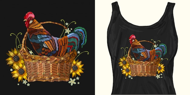 Embroidery rooster in a wicker basket