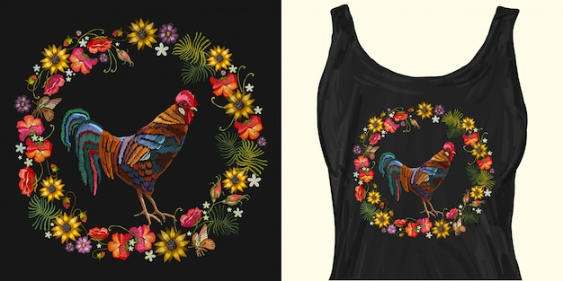 Embroidery rooster and wreath of flowers