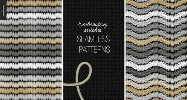 Embroidery satin stitch seamless pattern