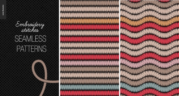 Embroidery satin stitch seamless pattern