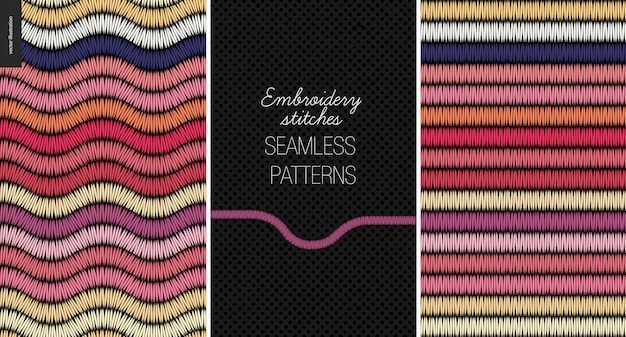 Embroidery satin stitch seamless patterns set