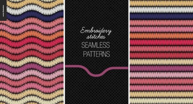 Embroidery satin stitch seamless patterns set