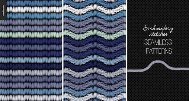 Embroidery satin stitch seamless patterns
