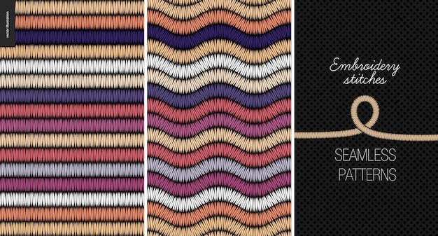 Embroidery satin stitch seamless patterns