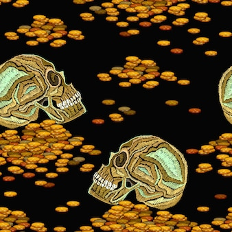 Embroidery skull and golden coins seamless pattern Premium Vector