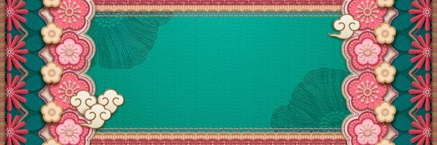 Цветочный баннер в стиле вышивки в бирюзовых и розовых тонах