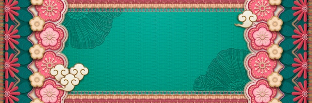 Embroidery style flower banner in turquoise and pink tone Premium Vector