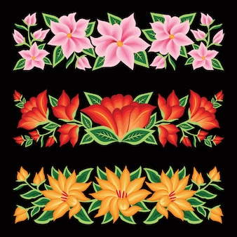 Embroidery style from oaxaca mexico floral border set