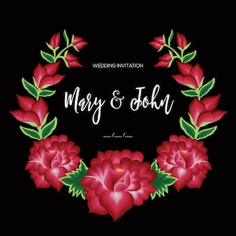 Embroidery style from oaxaca mexico  floral wedding invitation template