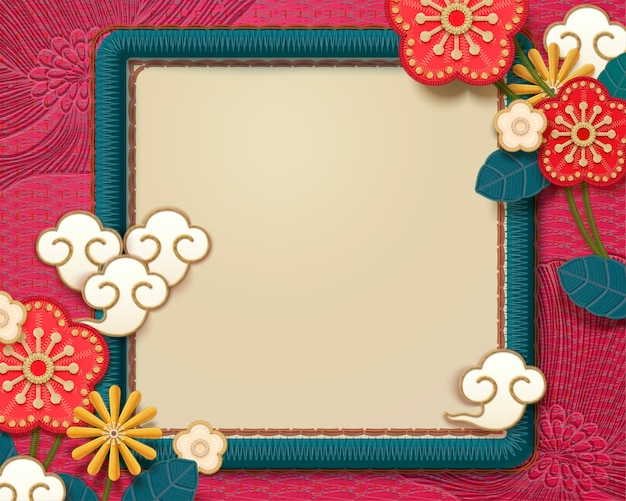 Embroidery style lovely plum flower frame in turquoise and fuchsia tone Premium Vector