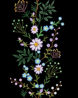 Embroidery texture flower seamless border  floral fashion decoration