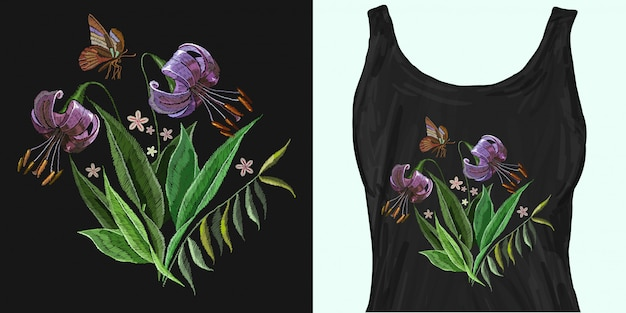 Embroidery tiger lillies