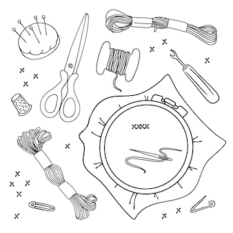 Embroidery tools illustration set for sewing and embroidery