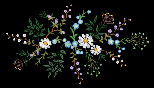 Embroidery trend floral pattern small branches herb daisy