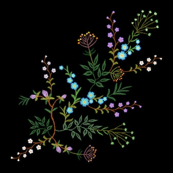 Embroidery trend floral pattern small branches herb leaf