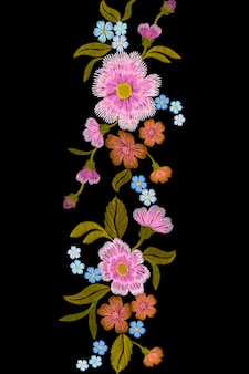 Embroidery trend floral seamless border small branches herb rose