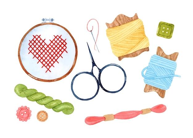 Набор акварельных элементов вышивки