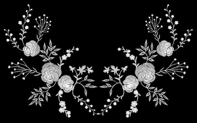 Embroidery white lace pancies floral reflection small