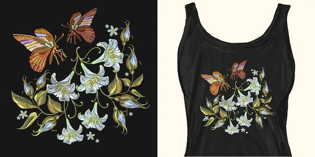 刺繍の白いユリと蝶