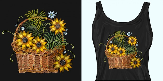 Embroidery wicker baskets and sunflowers