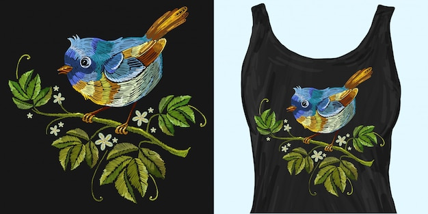 Embroidery wild roses and tropical birds