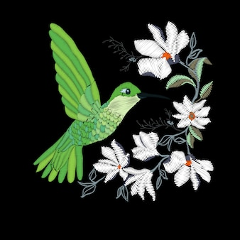 Embroidery with hummingbird and orchid flowers vector illustration.