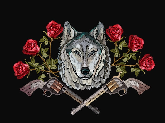 Embroidery wolf, crossed guns and flowers