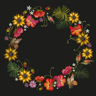 Embroidery wreath of flowers